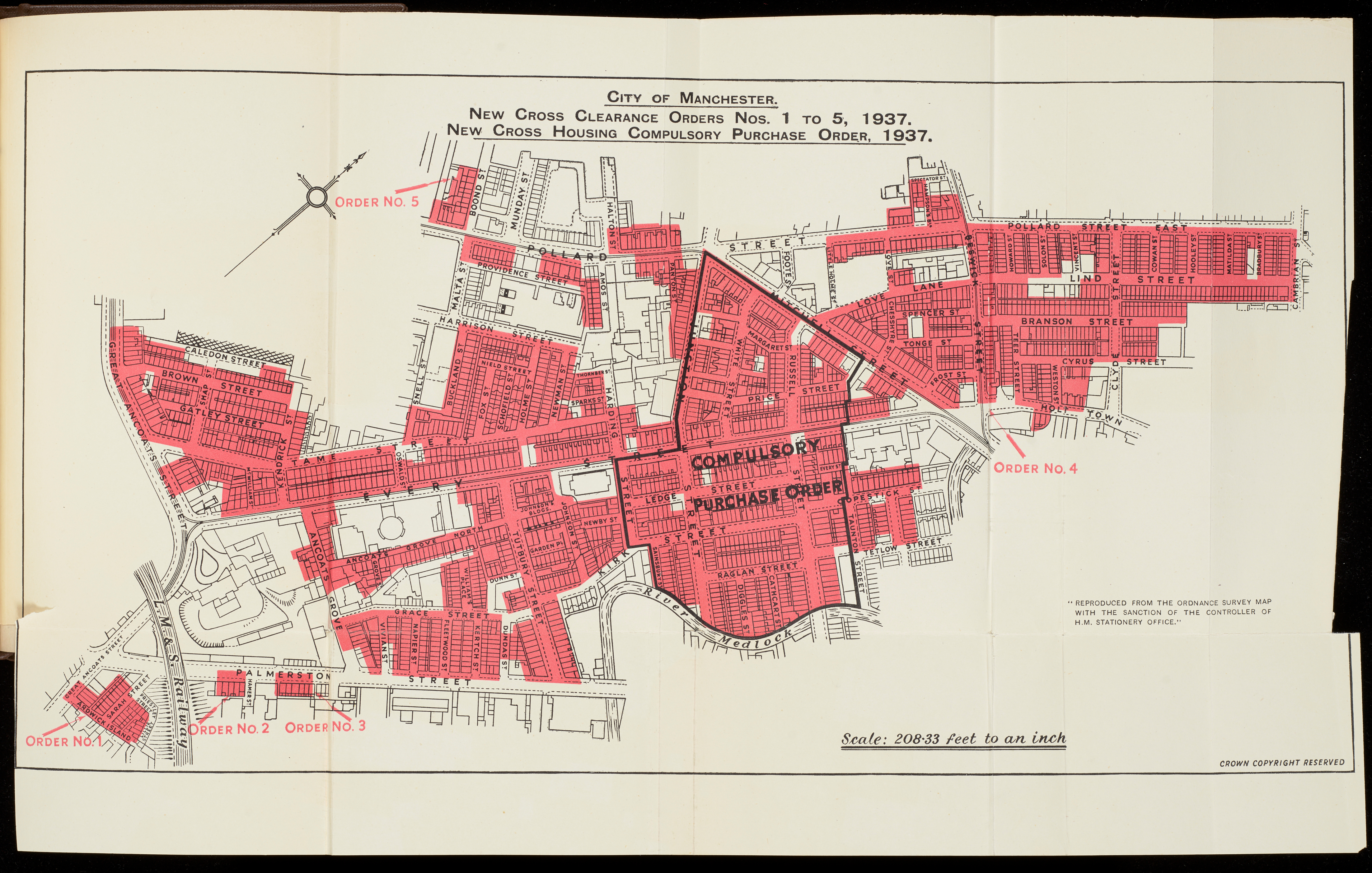 Map of clearance areas in Ancoats, 1938
